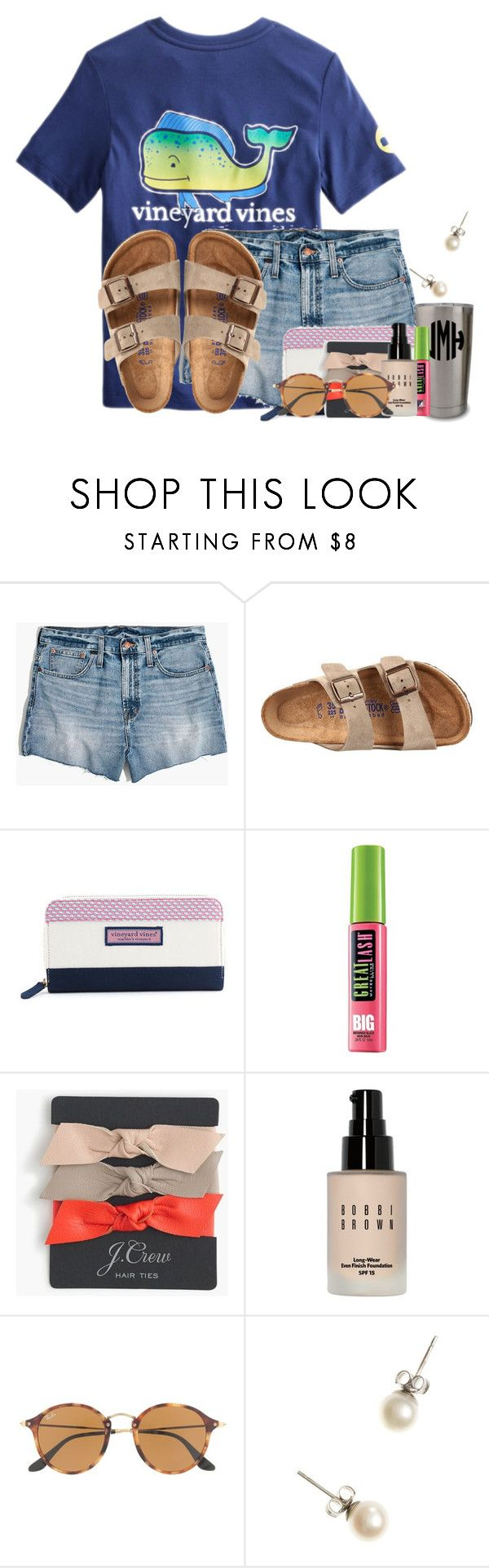 """Exact OOTD for going to the aircraft museum"" by flroasburn ❤ liked on Polyvore featuring Vineyard Vines, Madewell, Birkenstock, Maybelline, J.Crew, Bobbi Brown Cosmetics and Ray-Ban"