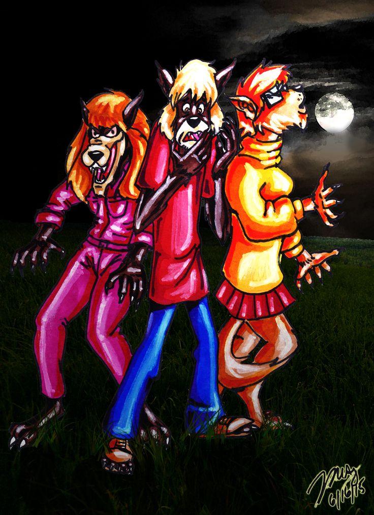 Daphne Shaggy and Velma as werewolves scoobydoo shaggy