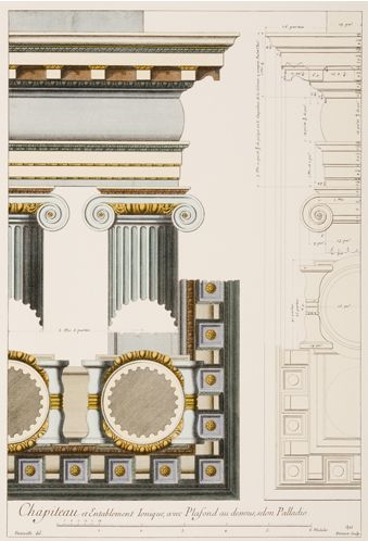 French architectural drawing of palladio column order for Architecture antique