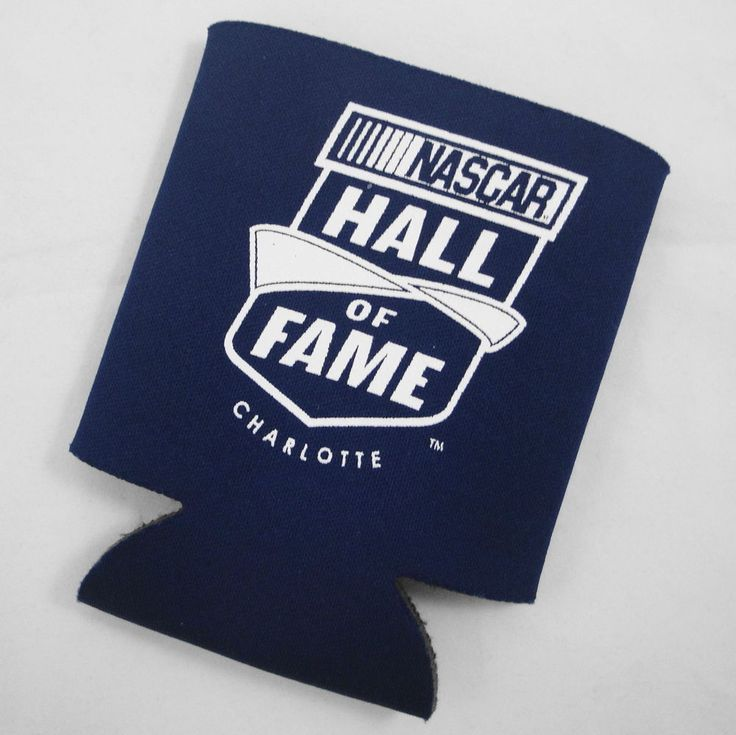 NASCAR Hall of Fame Charlotte Navy Blue Koozie Beer Soda Can Cooler White Letter