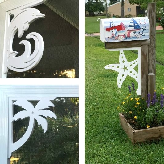 Beach Corner Brackets...  http://www.beachblissdesigns.com/2016/09/beach-brackets-for-corners-mailbox.html Beach up your mailbox, entry, or porch with a beach corner bracket made in Florida, USA!