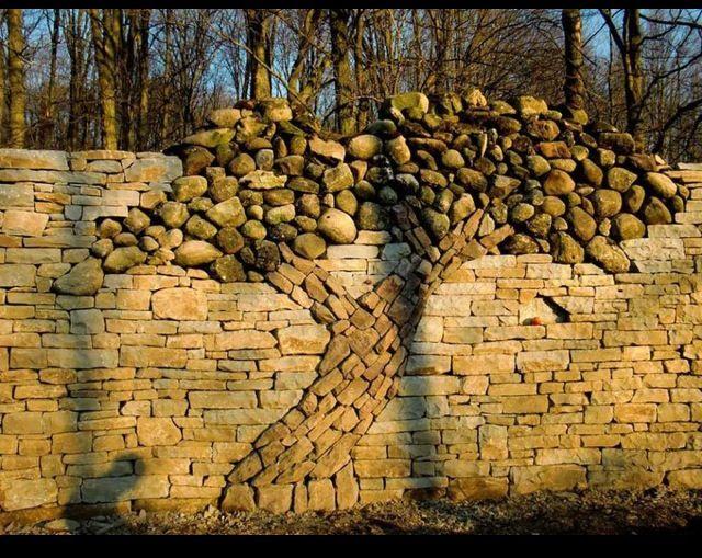 Beautiful stone art wall