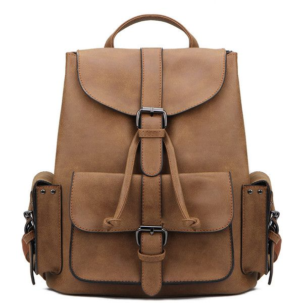 Yoins Brown Backpack with Drawstring Design and Magnetic Closure (150 BRL) ❤ liked on Polyvore featuring bags, backpacks, brown, brown backpack, vegan backpack, faux leather bag, draw string bag and backpack bags