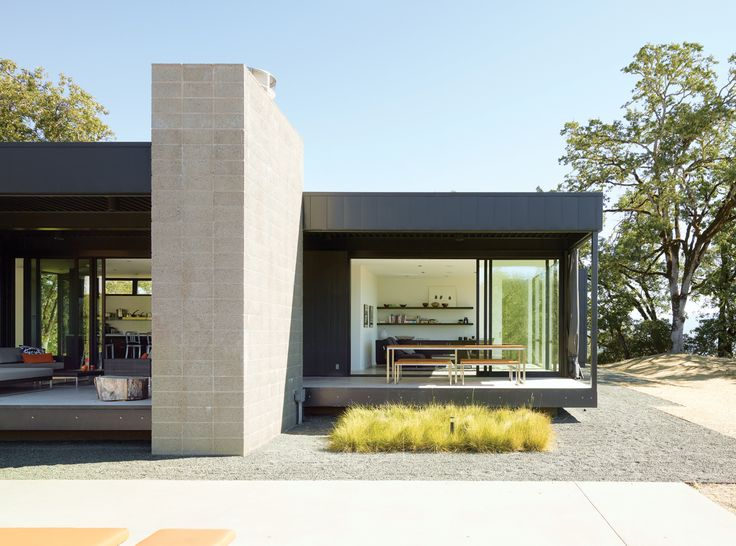 A Simple Plan  A Marmol Radziner–designed prefab house, trucked onto a remote Northern California site, takes the pain out of the construction process. Photo by Dwight Eschliman.