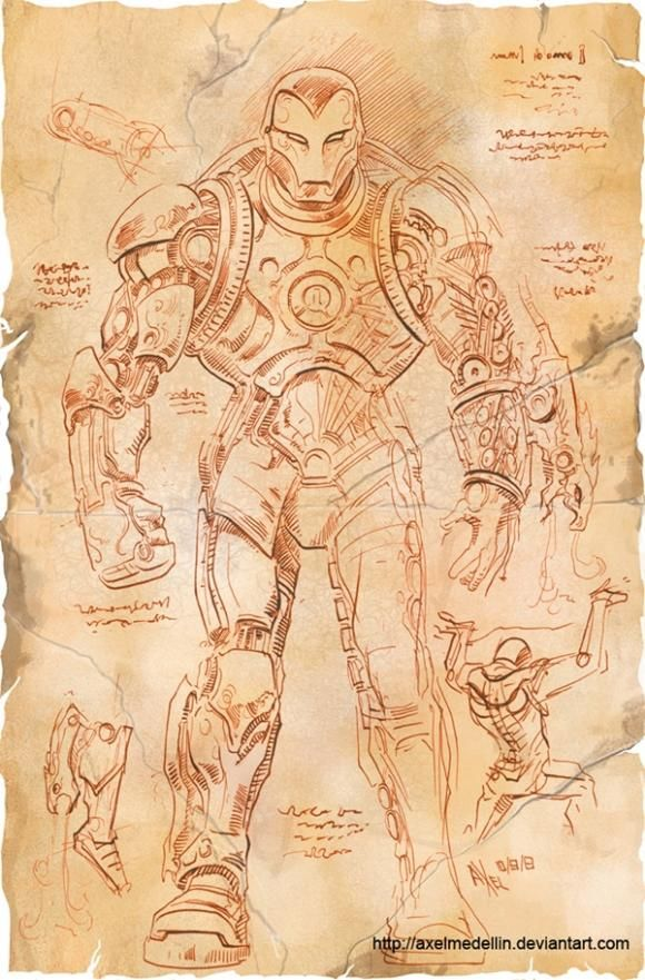 Concept artist Axel Medellin come up with this hypothetical: What if Leonardo da Vinci designed an Iron Man suit?