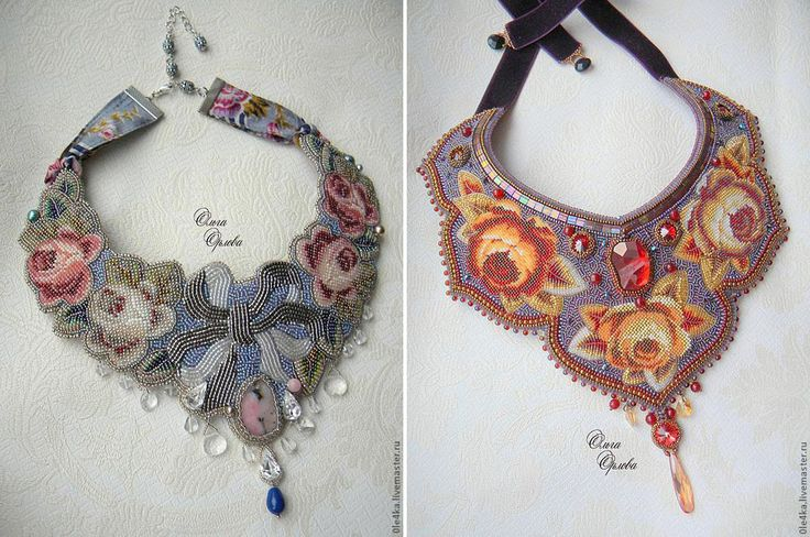 Bead embroidered neckpieces in needlepoint style by Ольги Орловой (Olga Orlova)