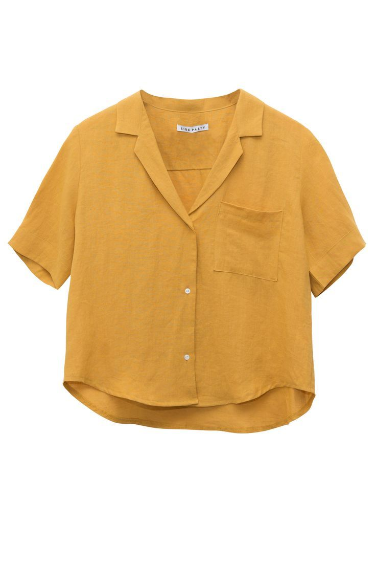 Light linen, mustard yellow, boxy cut, button down - this shirt has so many things going for it. Wear on ...