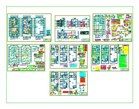 Vivienda Unifamiliar de dimensiones 8.00 x 2.00 ; cuenta con dos pisos mas azotea. Contiene el juego de planos completos Tambien posee un balcon; tres areas verdes; una escalera comun y una caracol