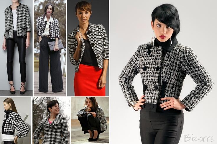 houndstooth, jacket, black, white, fashion