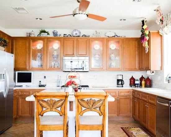 kitchen mediterranean kitchen with cool ceiling fan in kitchen also brown wooden kitchen cabinet also small white kitchen island also charming wooden