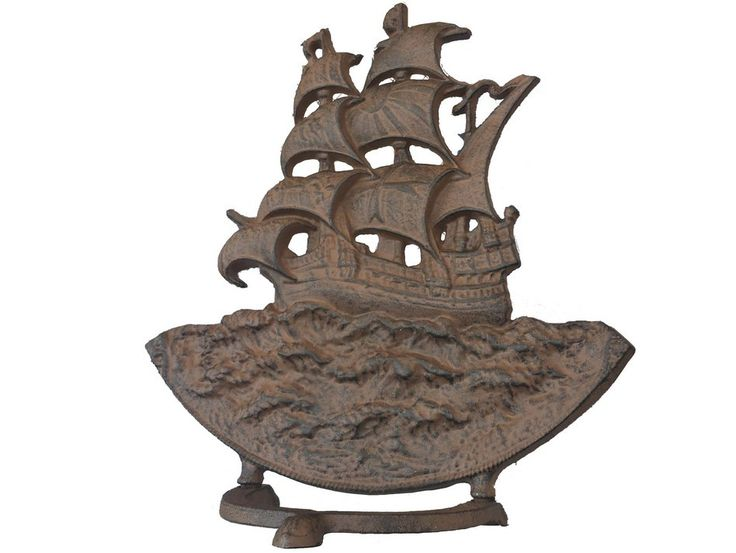 Rustic Iron Sailboat Door Stop 15""