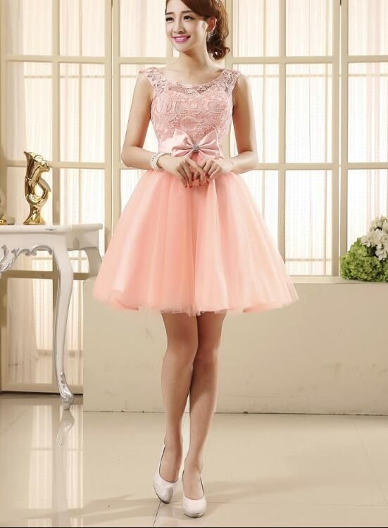99386250f Light Pink Lovely Tulle and Lace Party Dress, Cute Teen Girls Formal D –  BeMyBridesmaid
