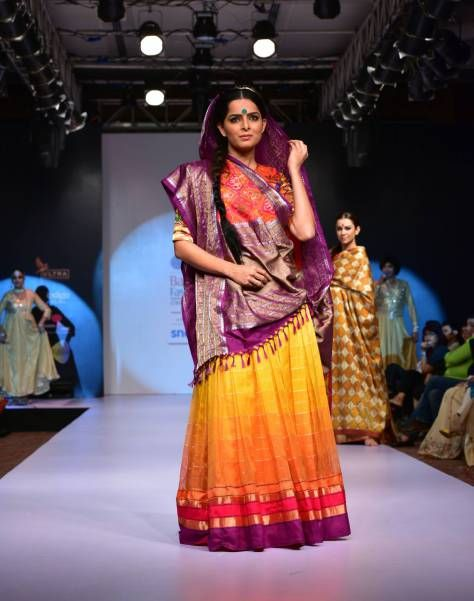 Sunset Colored Saree by Gaurang Shah