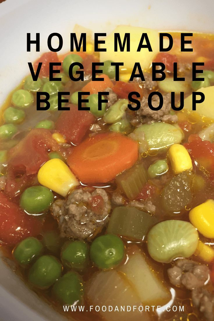 This Homemade Vegetable Beef Soup is a perfect soup for fall, winter, or any time. It is a hearty beef soup filled with chunks of fresh and frozen vegetables.