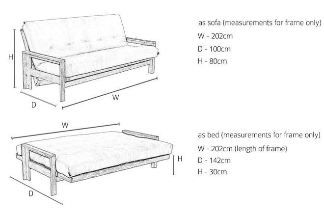 Co 3 Seater Birch Sofa Bed
