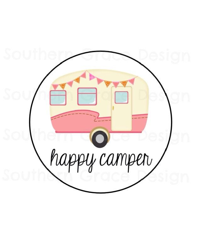 Instant Download Printable Iron On Transfer Happy Camper Shirt Onesie Bag by JennSouthernGrace on Etsy