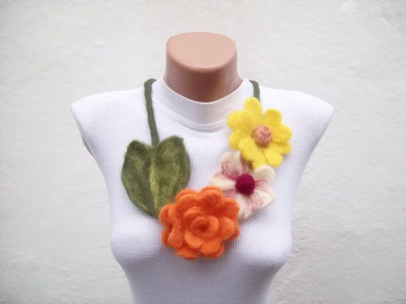 Felted Flower   Necklace Yellow Orange   Winter by nurlu on Etsy