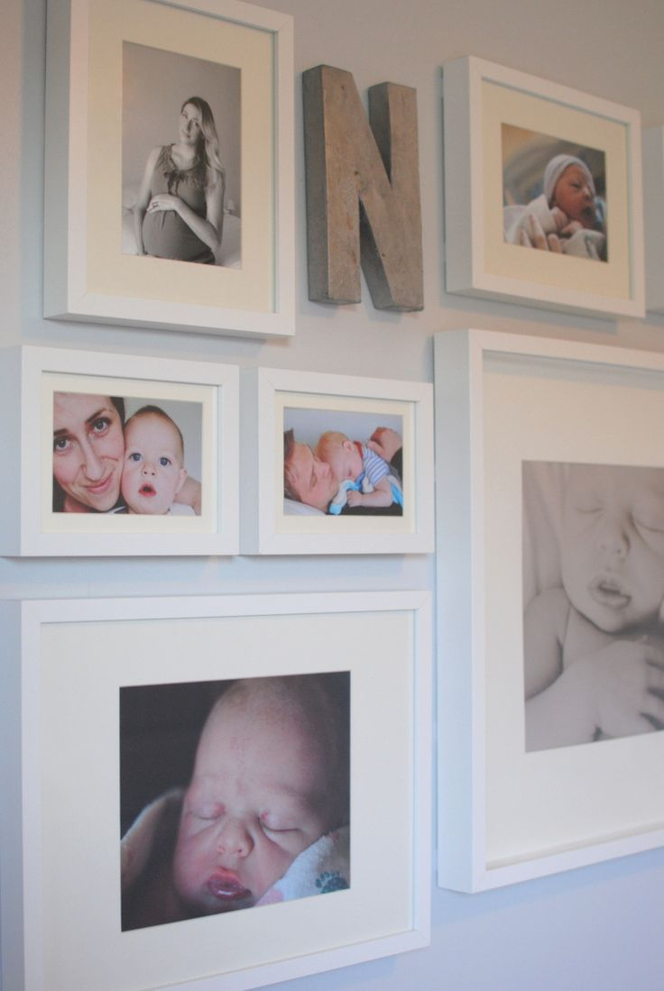 nursery - gallery wall. Could easily do this for your family's last name in a great room or basement too.