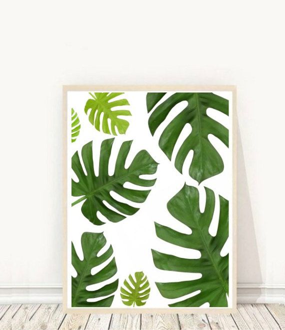 Prints from $7.92 on Etsy Monstera Deliciosa Monstera Leaf Print Tropical Leaf Print