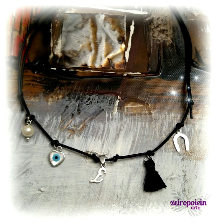 χειροποίητο κολιέ με γνήσιο δέρμα και στοιχεία από ασήμι πετ necklace