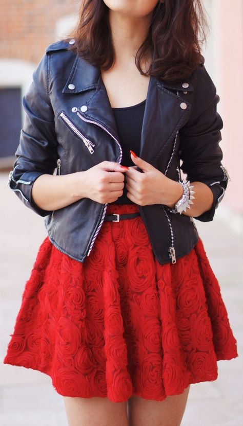 I love the jacket to add a punk-ish style and the vibrant red skirt contrasts perfectly.