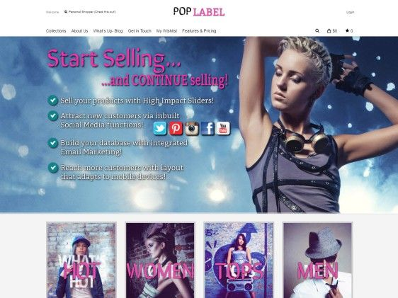 The vibrant & fun Pop Label is a great looking #ecommerce #website. Make your online #fashion or #homewares stand out with great features like Paypal integration, #socialmedia functionality and home page sliders.