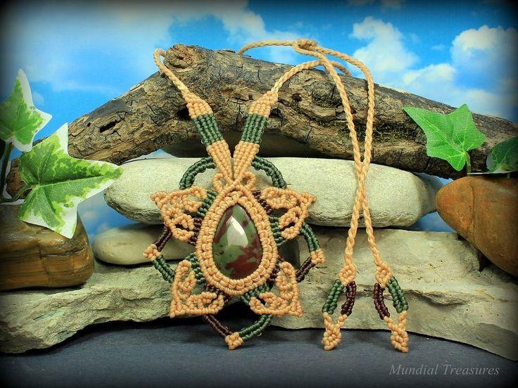 Jasper Aura Cleansing necklace - womens hemp macrame gemstone necklace