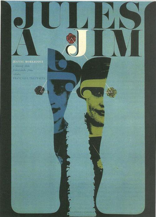 Jules and Jim (1962). Czech poster by Zdeněk Ziegler.