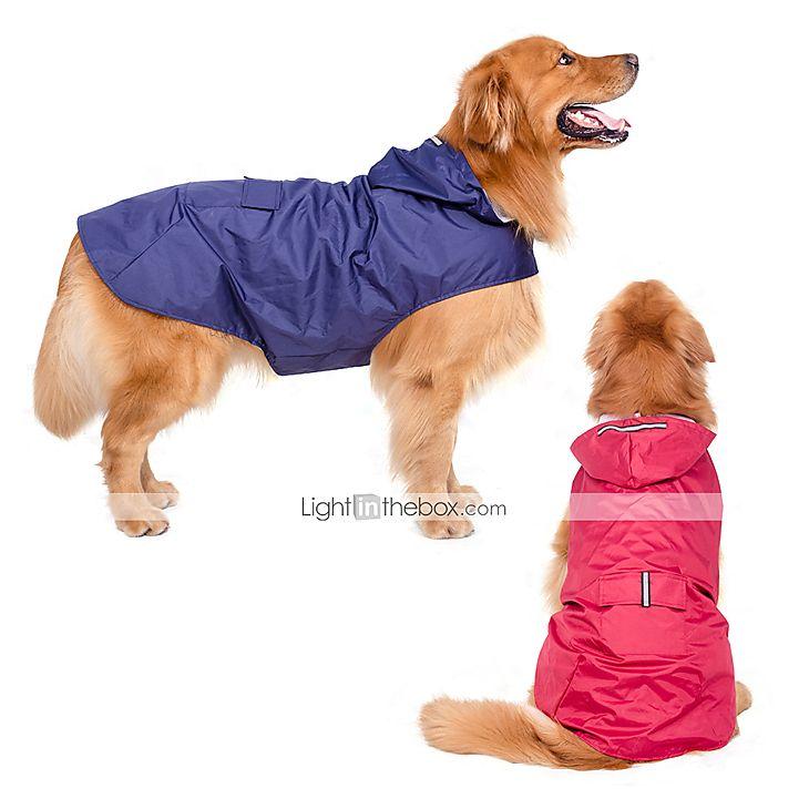 Cães Capa de Chuva Vermelho / Azul Escuro Roupas para Cães Verão / Primavera/Outono Cor Única Prova-de-Água / A prova de Vento de 5237215 2016 por R$50,67