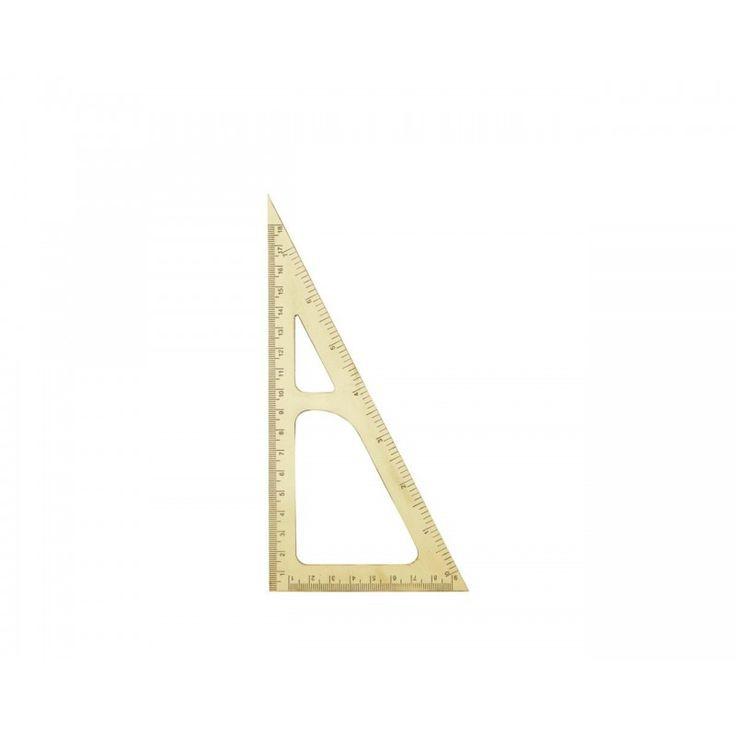 Háromszögű vonalzó rézből - 19,5 cm