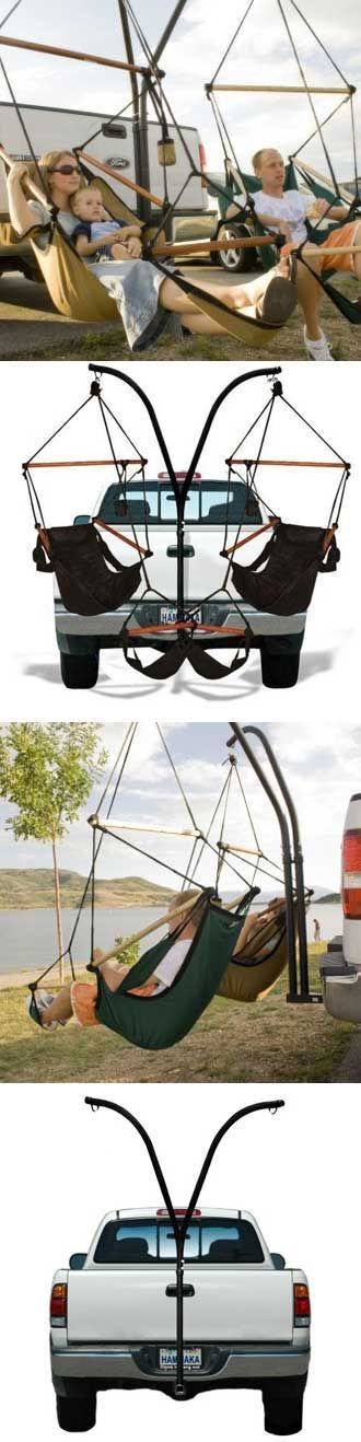 Hammaka: Trailer Hitch Hammock Stand. Just ride up to your spot, put the Hammaka on the hitch, and enjoy. No need for trees.