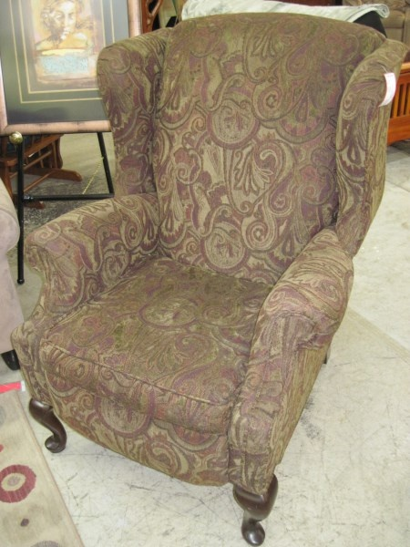 Wing Back Olive Brown Recliner Paisely Queen Anne Legs For Livingroom Pinterest Queen