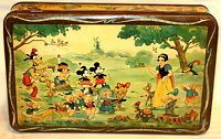 Disney Snow White Mickey Mouse Donald 3 Little Pigs Biscuit Tin 1930s