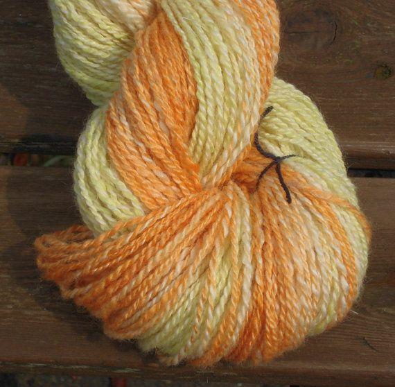 "Handspun 2 ply Fingering - Hand Dyed Artyarn - ""Primrose"" Soft Lustrous BFL Wool and Silk - Yellow Orange Handspun Wool Yarn - Hand Dyed"