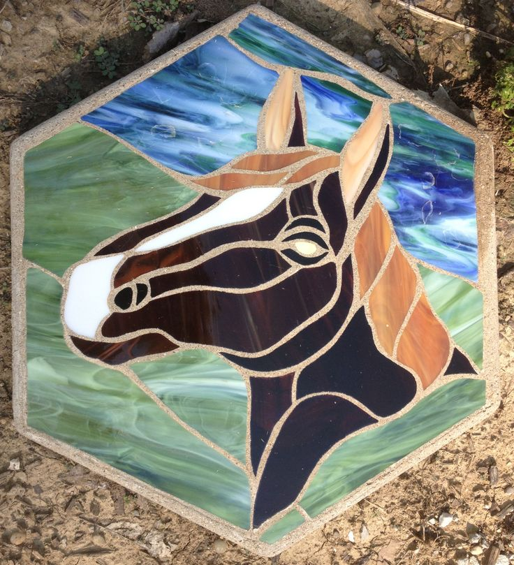 "Horse Head 16"" Stained Glass Garden Stone"