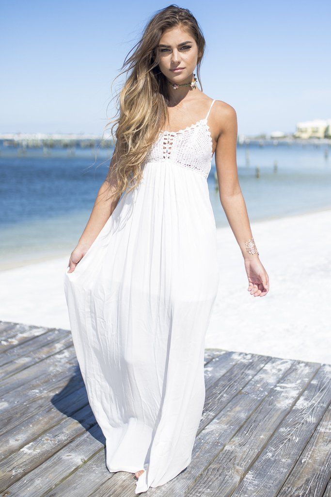 36b07b7303e5 The Golden Hour Oyster Crochet Maxi Dress Cute Dresses