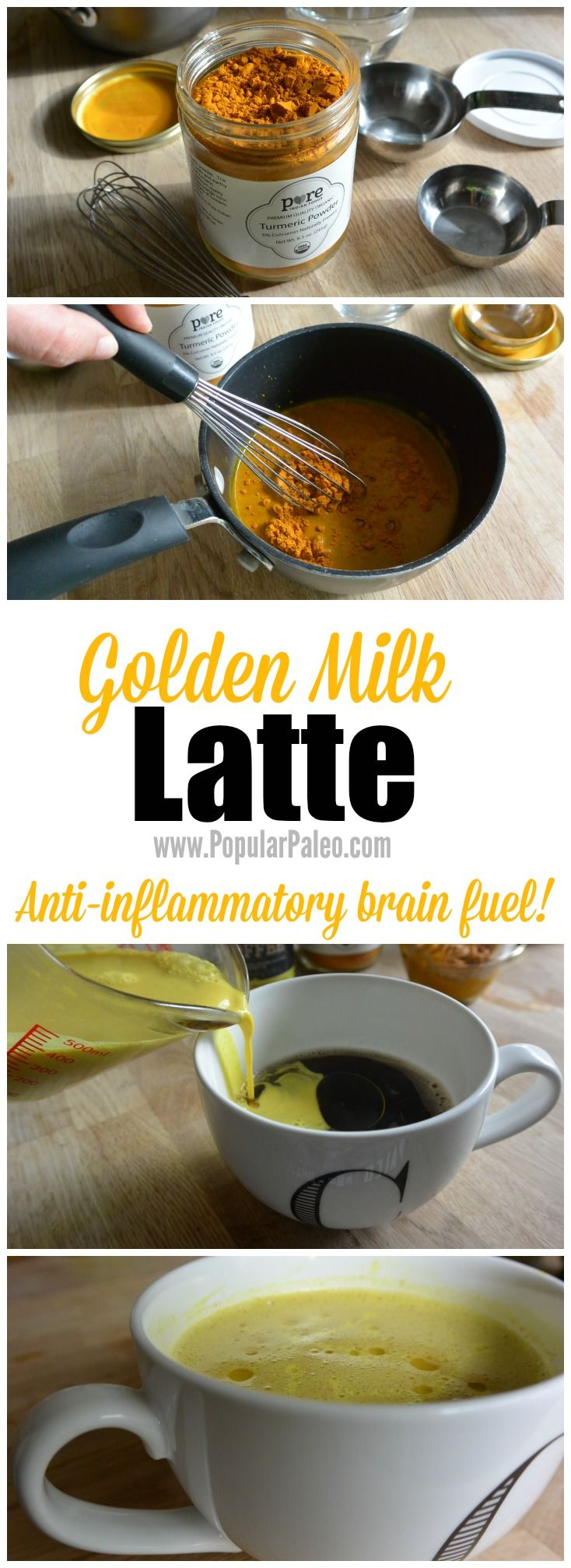 Golden Milk Latte on www.PopularPaleo.com   Turn the traditional anti-inflammatory, antioxidant drink into brain fuel to start your day! #paleo #buttercoffee #goldenmilk