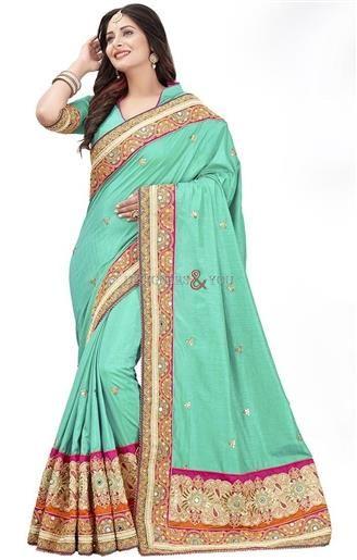 Ingenue Green Embroidered Art Silk Wedding Saree Design Up   #WeddingSarees #Sarees #Saris #WeddingSaris #SarisOnline #WeddingSareesDesign #WeddingSarisPattern #DesignersAndYou #DesignerSaris #DesignerSarees #DesignerSareesDesign #BestSarees #BeautifulSarees #BeautifulSaris