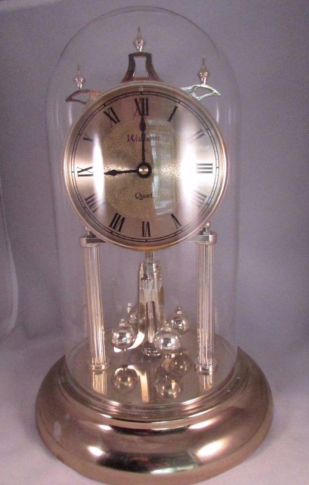Vintage Waltham Quartz Mantel Anniversary Clock with Dome for Parts or Repair