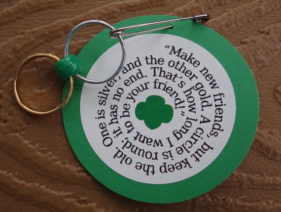 "Set of 10 Make New Friends Girl Scout SWAP or Craft Kits by minimecrafts - These SWAP kits are perfect for a bridging ceremony, sing-a-long, troop meeting, or campout. ""Make new friends, but keep the old; one is silver and the other gold. A cirlce is round; it has no end. That's how long I want to be your friend!"" Every Girl Scout knows this song and how to sing it in a round. Now, your girls can make SWAPs that remind them of the special memories this song evokes."