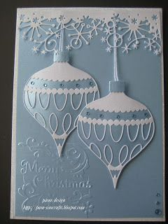 good morning everyone,    This is a quick Christmas card   New Memory Box August Release  Colette Ornament & Drop Ornament...