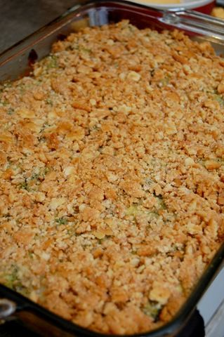 Broccoli Casserole. 4 packages of frozen, chopped broccoli, 1 small block velveta, 1 stick butter, 1 sleeve ritz crackers. cook broccoli, drain, cube velveta, place broccoli & cheese in casserole, top with crushed crackers, drizzle melted butter, bake 350 til bubbly. Yummy!