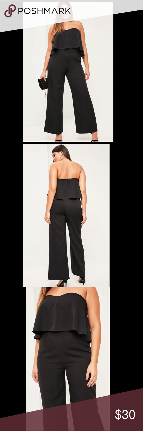 NWT Missguided Jumpsuit Black strapless jumpsuit with frill overleg and wide leg pants! Super cute and flattering! Never worn! New with tags Missguided Other