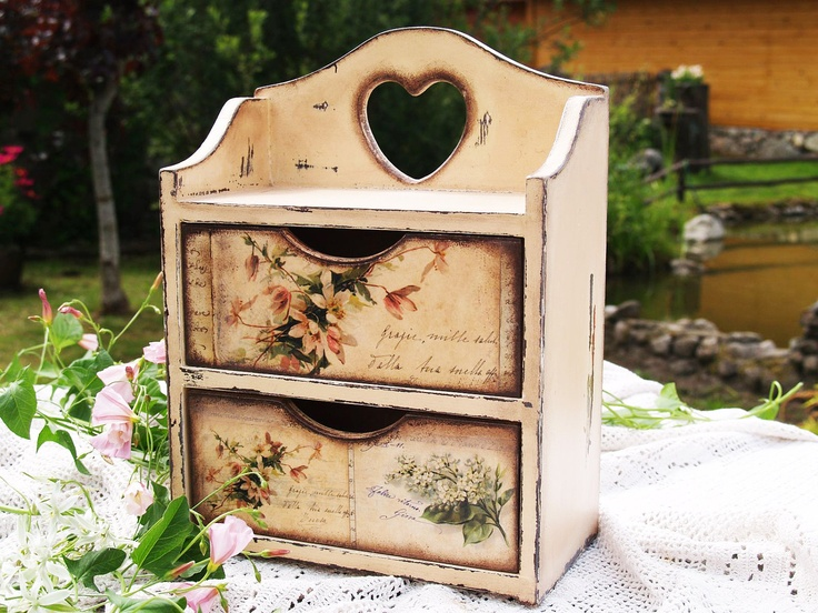"""Handmade Commode Cabinet box for spices , tea bags. Storage for kitchen """" Peace in provence """" Decoupage technique shabby chic Rustic style."""