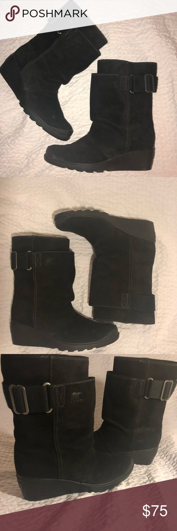 Sorel Leather Wedge Boots 100% leather Sorel boots. Waterproof oiled suede leather. Adjustable nylon web belt at shaft. These are meant for weather/ cold and hold up really well. Wore them twice. Like new and in wonderful condition.  Style: Women's Toronto Mid Boot  Size 9 2.5 inch wedge Sorel Shoes Wedges