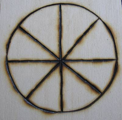 "Although sometimes referred to as a Sun Wheel, this symbol represents the Wheel of the Year and the eight Wiccan sabbats. The term ""sun wheel"" comes from the solar cross, which was a calendar used to mark the solstices and equinoxes in some pre-Christian European cultures. In addition to being represented by a wheel or cross, sometimes the sun is portrayed simply as a circle, or as a circle with a point in the center."