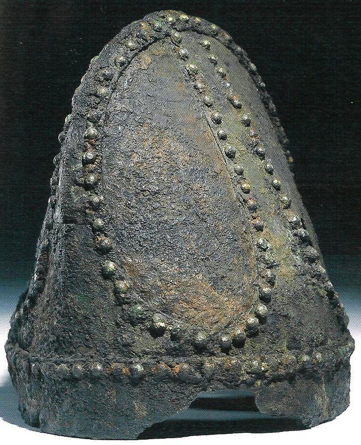 """Sassanian """"Spangenhelm"""" type helmet of riveted construction, recovered from Nineveh in modern-day Iraq which would have been a part of Sassanian Empire (224-651 AD) at the time, dated to 5th – 7th centuries CE. The Spangenhelm helmet was constructed by fastening metal plates together by rivets."""