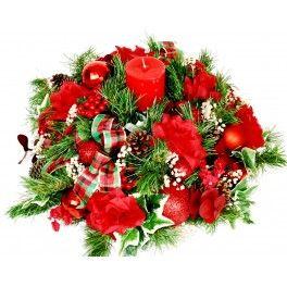 COLACION Centro de mesa navideño natural o artificial ,listón de fantasía, esferas, pino azul y oyamel.