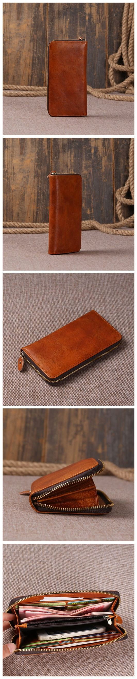 Handmade Leather Wallet Card Holder Leather Purse Men's Fashion Wallet