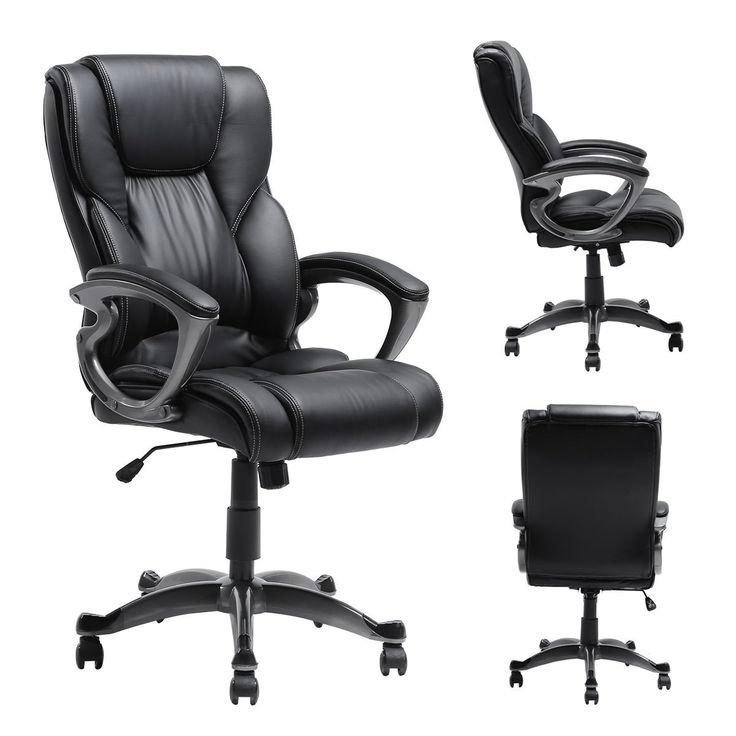 Mykau0027s Ergonomic Leather Executive Office Chair High Back Computer Task Swivel  Chair With Upholstered Armrest Black